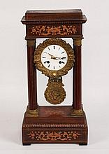 MARQUETRY INLAID ROSEWOOD PORTICO CLOCK