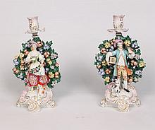 PAIR OF CHELSEA PORCELAIN FIGURAL CANDLESTICKS