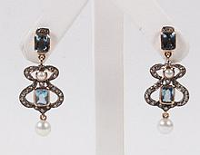 PAIR OF 18K YELLOW GOLD AQUAMARINE, DIAMOND, AND PEARL EARRINGS