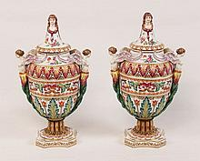 PAIR OF CAPO DI MONTE PORCELAIN CAPPED URNS