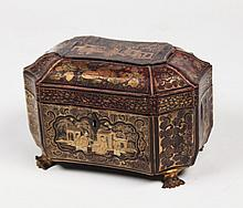 REGENCY OCTAGON SHAPED ORIENTAL LAQUERED TEA CADDY