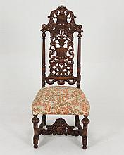 ELABORATE CARVED BAROQUE WALNUT SIDE CHAIR