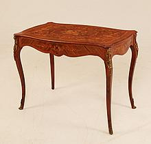 LOUIS XV STYLE BRONZE MOUNTED INLAID SERPENTINE LADIES BUREAU