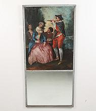 18TH C. FRENCH PAINTED WOOD TRUMEAU MIRROR