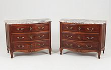 PAIR OF LOUIS XV PROVINCIAL WALNUT SERPENTINE COMMODES
