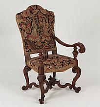 19TH C. ITALIAN BAROQUE OAK CARVED ARM CHAIR