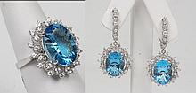 14K WHITE GOLD 3 PIECE GROUPING OF BLUE TOPAZ AND DIAMOND LADIES RING AND PAIR OF EARRINGS