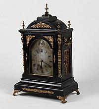 ENGLISH GILT BRONZE MOUNTED EBONY CASE BRACKET CLOCK