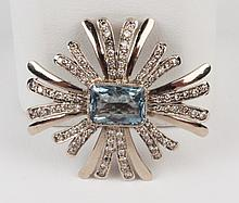 18K GOLD TIFFANY DESIGN DIAMOND AND AQUAMARINE BROOCH