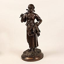 19TH C. FRENCH BRONZE SCULPTURE OF A PEASANT GIRL