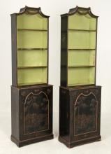 PAIR OF PETITE ENGLISH CHINOISERIE LACQUERED BOOKCASES