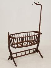 CONTINENTAL SWAN CARVED MAHOGANY CHILD'S BED