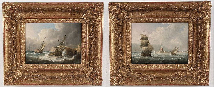 T. BUTTERSWORTH, PAIR OF 19TH C. OIL ON PANEL MARITIME PAINTINGS, SIGNED T.BUTTERSWORTH