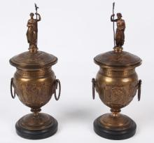 PAIR OF 19TH C. BRONZE  DOUBLE HANDLED URNS