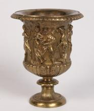SMALL FRENCH EMBOSSED BRONZE URN