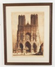 FRAMED HAND COLORED ETCHING OF RHEEMS CATHEDRAL