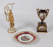 3 PIECE MISCELLANEOUS LOT OF CONTINENTAL PORCELAIN