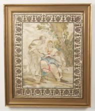 FINE QUALITY 19TH C. FRAMED EMBROIDERY