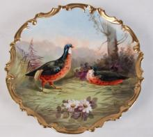 SIGNED FRENCH LIMOGES GOLD RIMMED CHARGER WITH BIRDS