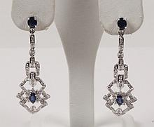 PAIR OF 14K WHITE GOLD DIAMOND AND SAPPHIRE EARRINGS