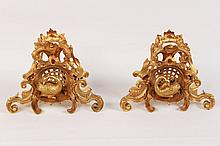 PAIR OF FINE LOUIS XV STYLE DORE BRONZE CHENETS