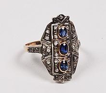 18K YELLOW GOLD DIAMOND AND BLUE SAPPHIRE RING