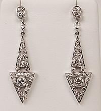 PAIR OF 18K WHITE GOLD ART DECO DESIGN  DIAMOND EARRINGS
