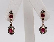 PAIR OF 18K YELLOW GOLD DIAMOND AND RUBY EARRINGS
