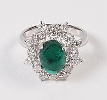 14K WHITE GOLD DIAMOND AND CABOCHON EMERALD LADIES RING