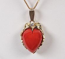 14K YELLOW GOLD CORAL AND DIAMOND PENDANT ON CHAIN