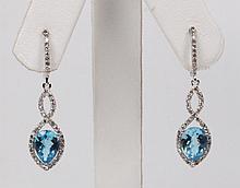 PAIR OF 14K WHITE GOLD DIAMOND AND BLUE TOPAZ DROP EARRINGS