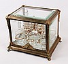 FRENCH BRONZE AND BEVELED GLASS TANTALUS SET