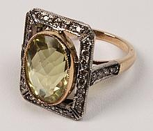 18K YELLOW GOLD LEMON TOURMALINE AND DIAMOND RING