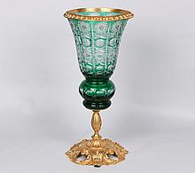 GREEN CUT TO CLEAR GLASS COMPOTE WITH DORE BRONZE MOUNTS