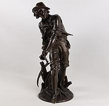AIZELIN, 19TH C. FRENCH BRONZE SCULPTURE OF YOUNG BOY