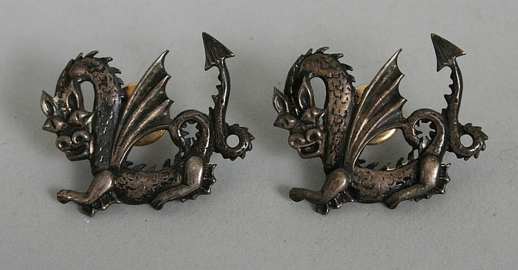 Pair of Sterling Silver Dragon Pins