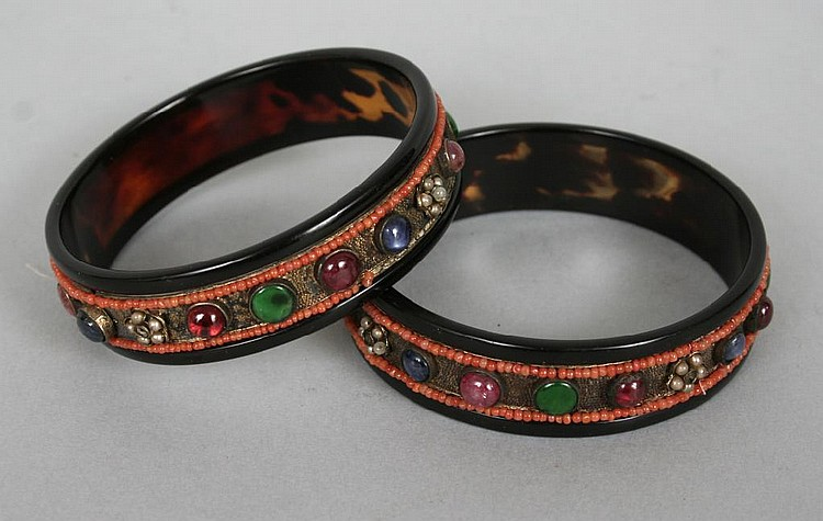 Pair of Chinese Gem Set Tortoise Shell Bangles