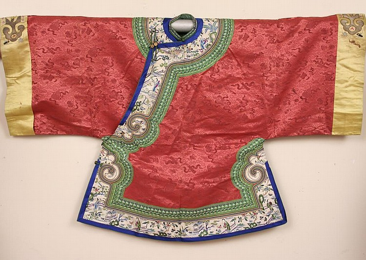 Antique Chinese Embroidered Persimmon Silk Robe