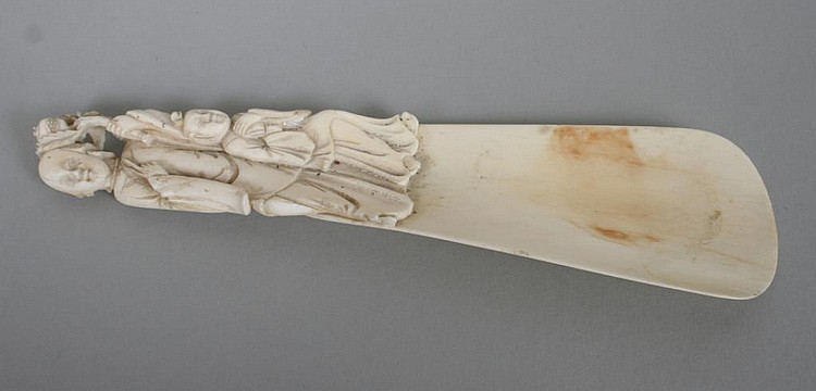 Chinese Carved Ivory Figural Shoe Horn