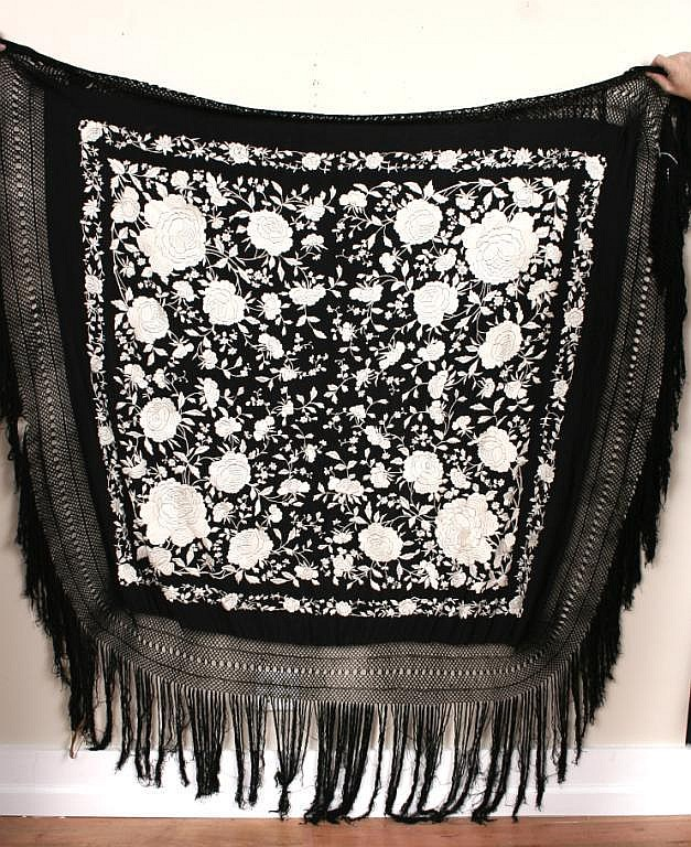 Chinese Embroidered Black Silk Piano Shawl