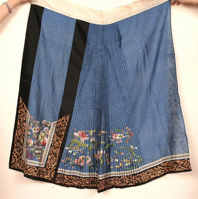 Group of Antique Chinese Embroidered Silk Skirts