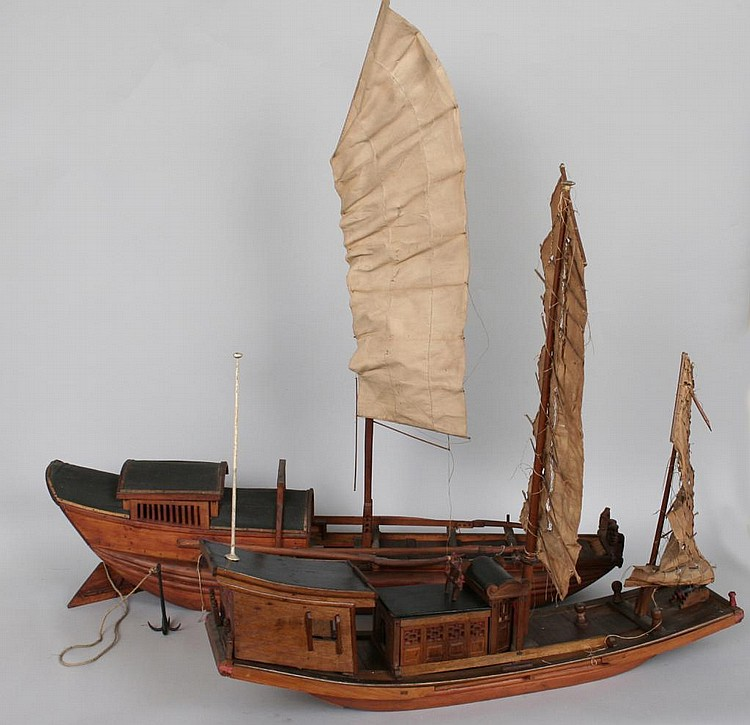 Two Chinese Model Junk or Dragon Boats