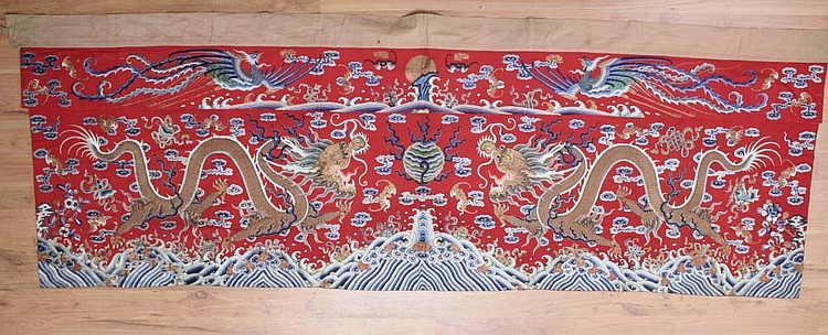 Antique Chinese Altar Panel Hanging Textile