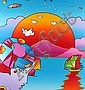 Peter Max Cosmic Fantasy Acrylic Painting on Canvas