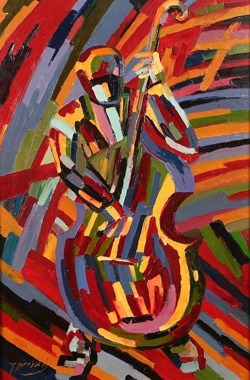 Modernist Painting of a Musician