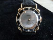 RARE MAN'S LONGINES SOLID 14K DIAMOND WATCH W/ ENAMEL RINGED BEZEL AND KNOTTED LUGS