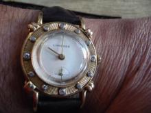 RARE MEN'S LONGINES 14K GOLD DIAMOND WATCH FROM THE 1940'S WITH KNOTTED LUGS