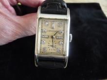 MAN''S LONGINES SOLID 14K,17 DIAMOND WATCH FROM THE 1940'S