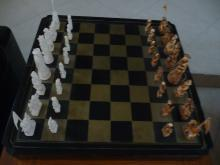 ANTIQUE IVORY CHINESE HANDCARVED CHESS SET WITH BOARD