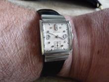 MEN'S LONGINES SOLID 14K  WHITE GOLD DIAMOND WATCH FROM THE 1940'S